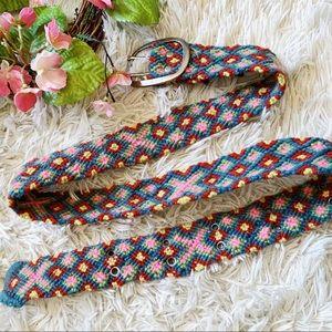 Vtg Jenny Krauss Wool Aztec Woven Belt